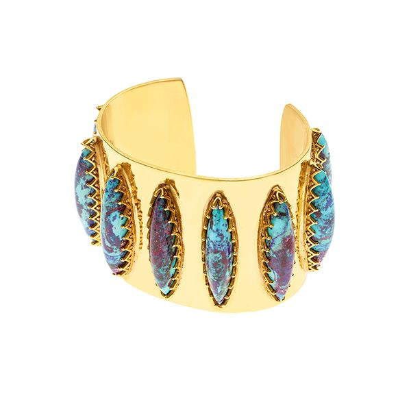 PUSHMATAAHA // Elliptical Cuff / Blue Purple Turquoise with Gold Plate