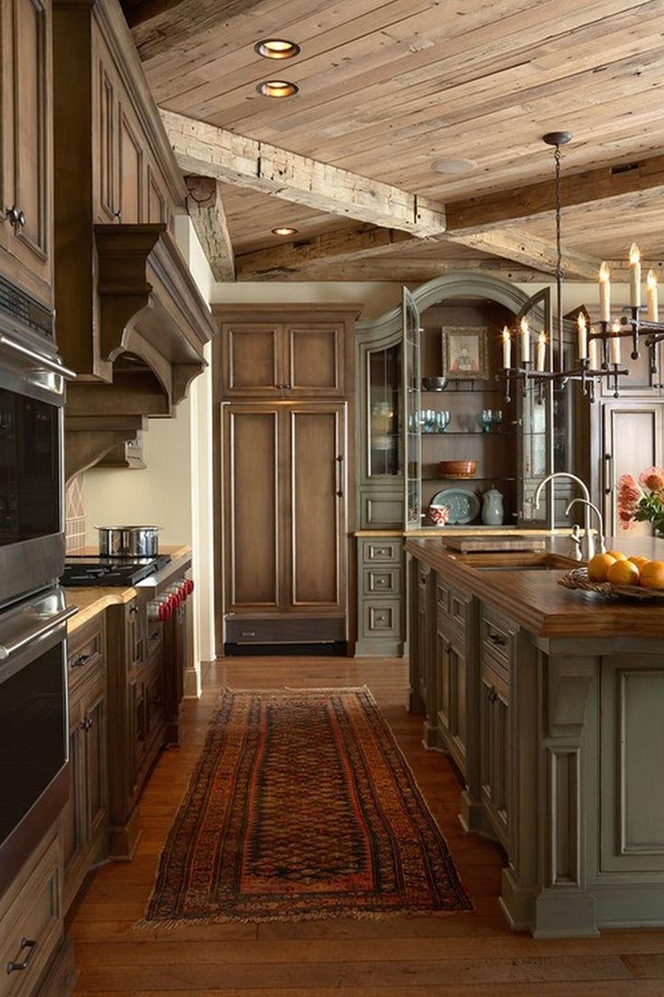 Lovely Mahogany Wood Kitchen Cabinets With Double Sink ...