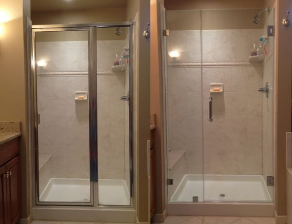 "Framed Shower Door Vs. Frameless Shower Door. Why choose glass frameless shower doors? Not only are they the ultimate accessory for your luxury bathroom giving you an open & airy, spa-like feel, but did you also know there is no ""hard to clean"" mess! There are no tracks for soap scum and mold to build up!"