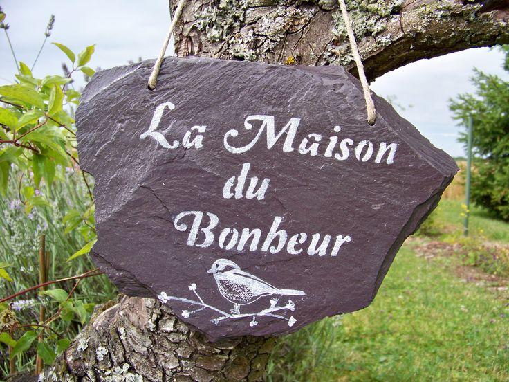 """Suspension en ardoise naturelle """"la maison du bonheur"""" : Accessoires de maison par troglodyte-mignon"""