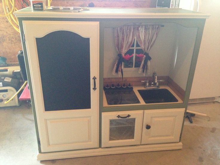 Play Kitchen I Made Out Of An Old Entertainment Center By Off The Hook By Shelby Nafzger For