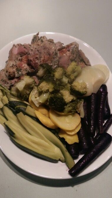 Chicken thigh herb marinade sous vide plus sous vide veg (85 Deg C. approx 1 hr). Purple carrots with cubeba pepper and 4x Orange, fennel with Apple, zucchini and squash with lime all with butter