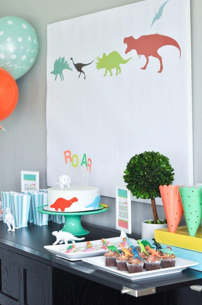 Bodhi's third birthday dinosaur party. Dessert table.