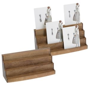 Cherry-Finish Wood Jewelry Card Display