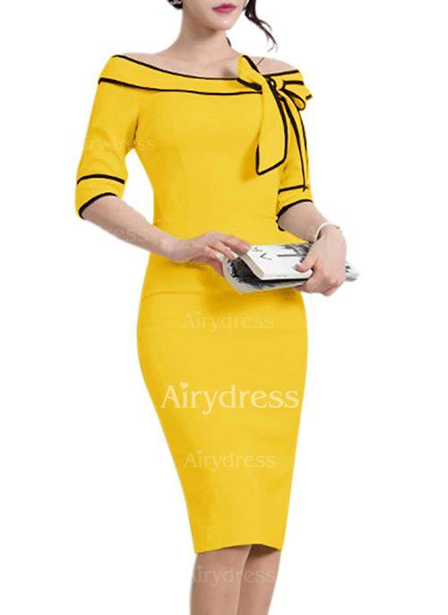 Dress - $23.60 - Polyester Color Block Half Sleeve Knee-Length Elegant Dresses (1955138885)