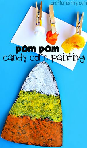 Candy Corn Craft using Pom Poms to Paint #Halloween craft for kids to make! #Fall   CraftyMorning.com