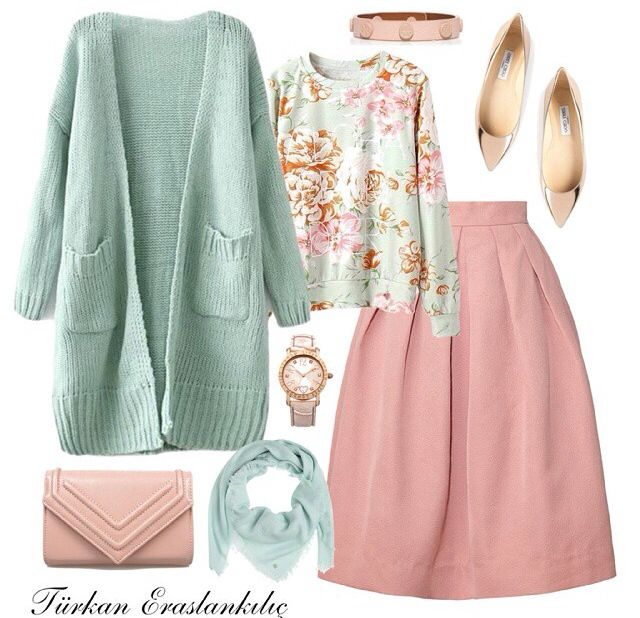 Pink skirt, floral sweater, mint cardigan, mint scarf, pink bracelet, watch, pink shoes