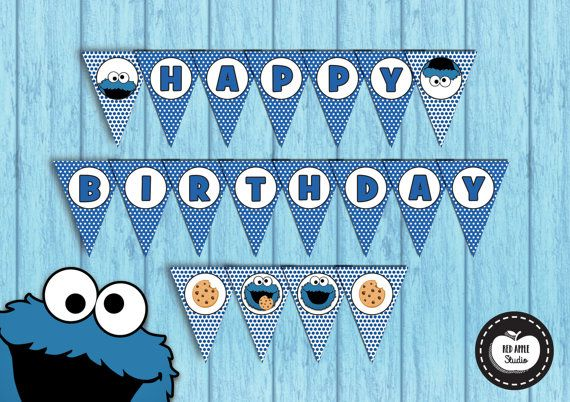 18x COOKIE MONSTER Birthday Banner Party Flags Happy Birthday Bunting Party Supplies Sesame Street Cookie Monster Printable INSTANT Download