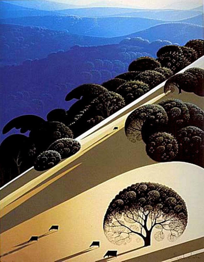 Eyvind Earle--An artist I discovered in my early twenties. I adore his use of color, light & shadow.
