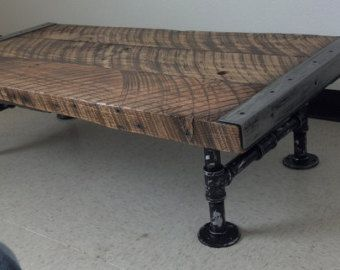 24 x 48 Industrial Coffee Table with distressed von MtHoodWoodWorks