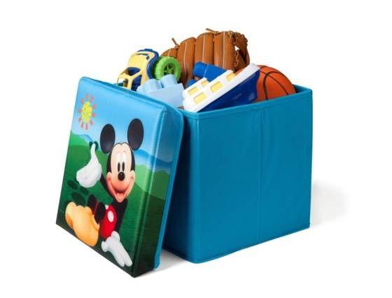 Taburete Guarda juguetes Mickey Mouse de tela con tapadera ...