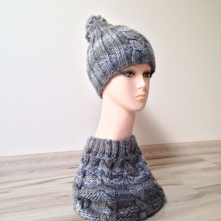 Set: winter cap with bobble and tube scarf, hood, cowl, knitted, handmade,  plait pattern by justknitted1 on Etsy