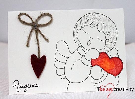 Biglietto di auguri con angelo e cuore in feltro. #angel #card #handmade #paper #heart #feltro  #auguri #nascita #comunione #cresima #lotrovisuMissHobby #red