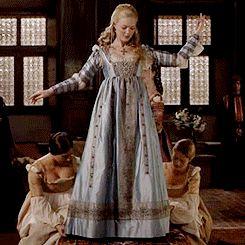 Getting dressed, Lucrezia Borgia in The Borgias, pale blue dress season 1