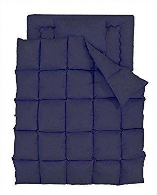 パーシモン 快眠 新 生活 20色 羽根布団 洗える 肌掛布団 8点 セット 和 タイプ クイーン ミッドナイト ブルー やすらぎ