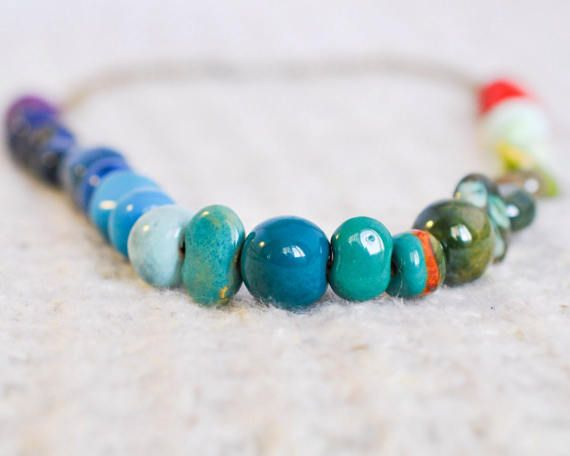 Kazuri Bead Rainbow Necklace - Rainbow Pride Necklace - Rainbow Wedding - LGBT Pride Necklace - LGBT Jewelry - Pride Jewelry - Statement TheCoastalDesert The Coastal Desert