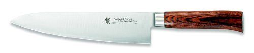 Tamahagane San SN-1105H - 8 inch, 210mm  Chef's Knife by Tamahagane. $99.95. Multipurpose 8-inch chef's knife blends modern construction techniques with Japanese knifemaking traditions. Distinctive, comfortable handle made of rich, dark laminated wood. Hand wash only; limited lifetime warranty; made in Japan. Exceptionally sharp edge thanks to thin VG5 steel core sandwiched between layers of SUS410 steel for stain resistance. Balanced with a stainless steel weight that ...