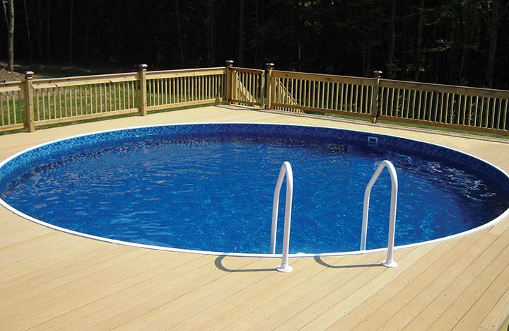 Radiant Metric Round Pool Installed Semi Ingournd With A