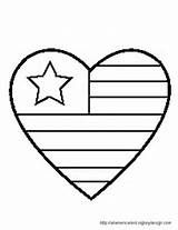 American Flag Patriotic Heart Coloring Page