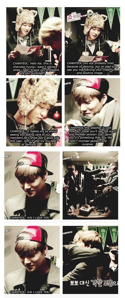 EXO'S SHOWTIME épisode 3 Chanyeol qui lit sa lettre à Kai (son amour) puis un câlin :) <3<3