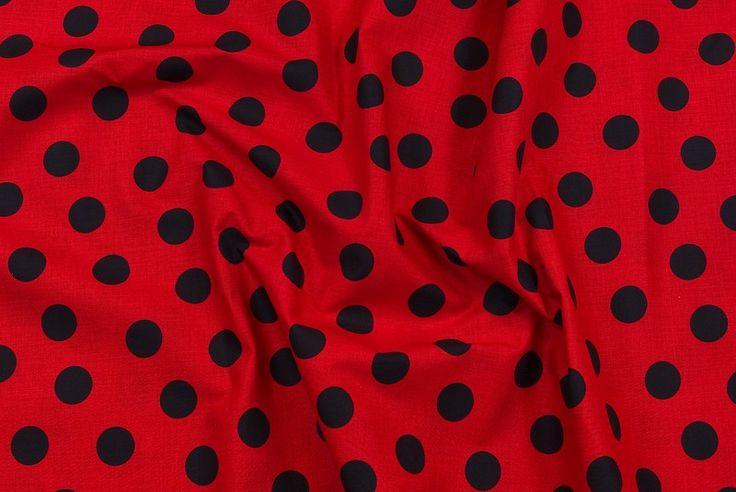Cirkeline bomuld i rød med sorte bomber