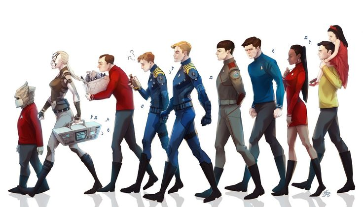 Leonard H. McCoy, James T. Kirk, Montgomery Scott, Nyota Uhura, Spock, Pavel Chekov, Christine Chapel, Hikaru Sulu, Keenser, Jaylah || Star Trek AOS