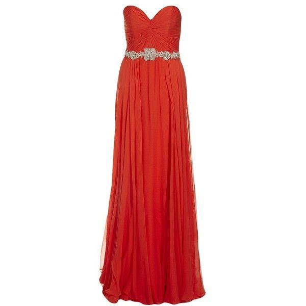 JOVANI Strapless Chiffon Gown ($935) ❤ liked on Polyvore featuring dresses, gowns, women, chiffon dresses, jovani gown, strapless gown, red strapless gown and red strapless dress