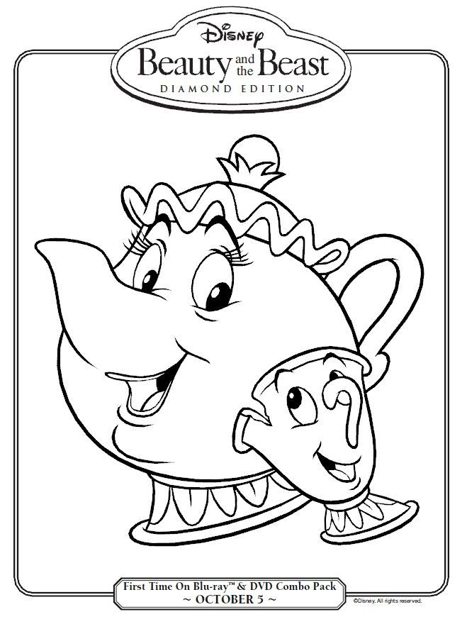 beauty and the beast mrs potts and chip coloring page