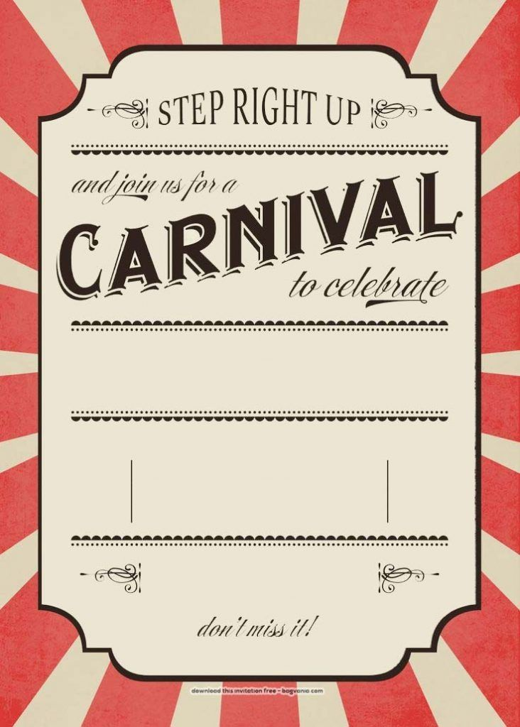 FREE Carnival Birthday Invitations Bagvania Printable Invitation Template