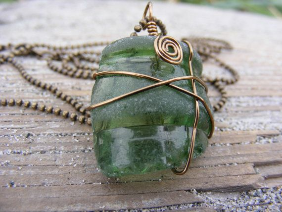 (use GRANDOPENING10 for $10 off until 08/20) Authentic Green Bottle Sea Glass Necklace on Brass Coloured Nickel-free Chain by TheSeaGlassGrotto  #seaglass #seaglassjewelry #beachglass #beachglassjewelry #shophandmade #seaglassgrotto