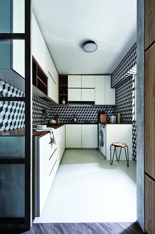 House tour 90 000 scandinavian style five room hdb flat for Scandinavian kitchen backsplash