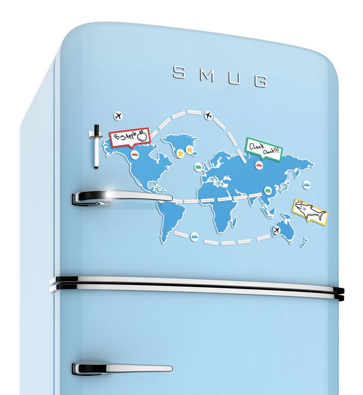 Wem sein Kühlschrank die Welt bedeutet, der kann das gute Stück jetzt endlich auch mit ihr dekorieren. Die magnetische Weltkarte verwandelt ihn im Handumdrehen in einen 1a Routenplaner. Ein tolles Geschenk und spaßig interaktive Küchendeko!