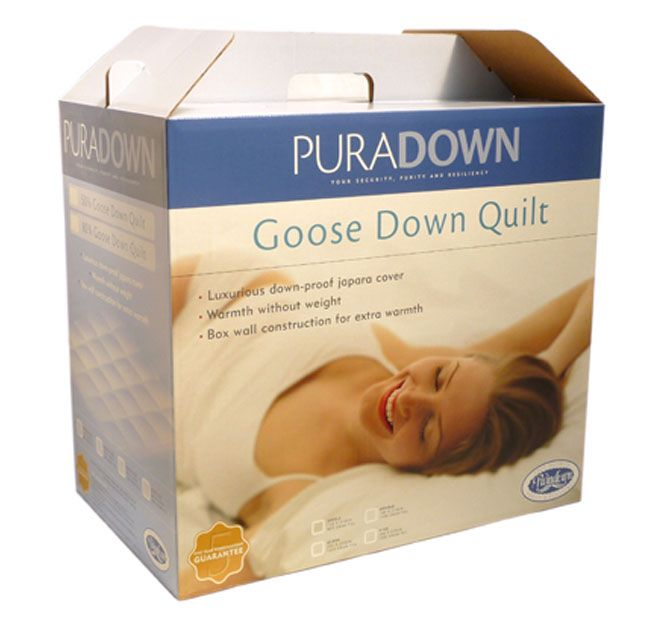 Goose 80 Down 20 Feather PURADOWN  Puradown's Quilt Range is constructed using high quality down, which is the soft and fluffy clusters that grow under the outer layer of ducks to protect them from the cold. The higher the down content, the warmer the quilt will be.  Features: Made from 80% Goose Down and 20% Goose Feather 100% Luxurious Japara cotton cover Cassette construction, featuring a series of individually filled squares to maintain an even distribution of warmth Light weight Extra…
