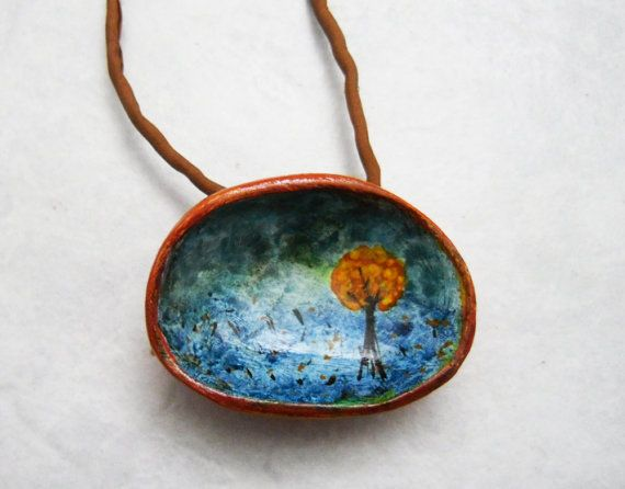 prairie  unique dome hand painted pendant by Joogr on Etsy, €24.00