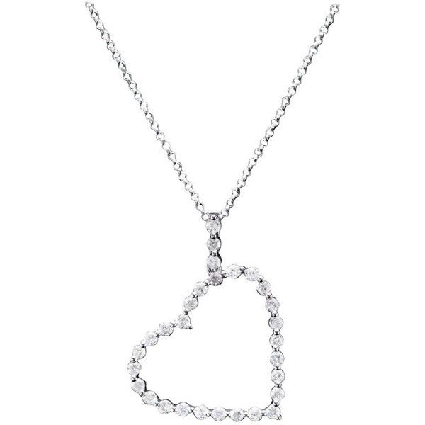 Preowned Diamond Heart Pendant Necklace In 18 Karat White Gold (64,795 INR) ❤ liked on Polyvore featuring jewelry, necklaces, pendant necklaces, white, diamond necklace, white gold heart pendant, heart necklace and diamond pendant