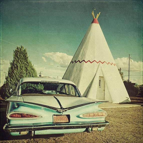 Fine ArtWigwam Motel Route 66 10x10 Metallic by eleven12design, $24.99