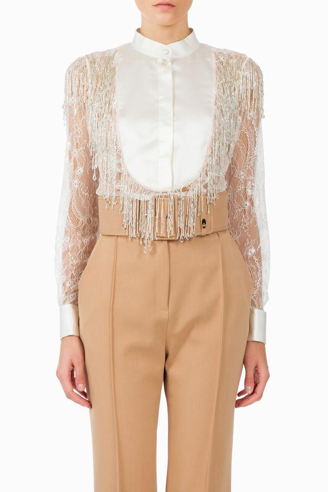Camicia con frange e cristalli - Top su Digital Store ELISABETTA FRANCHI - la Boutique online ufficiale
