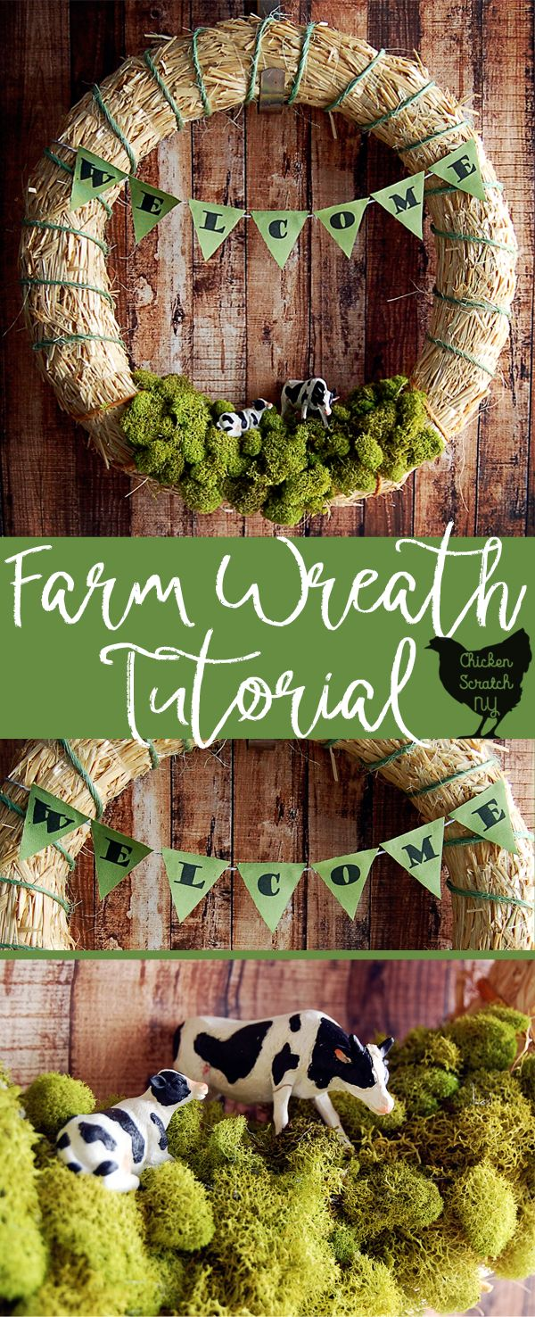 Add some rural charm to your front door with a DIY Spring Farm Wreath featuring a straw wreath, bailing twine and cows with this quick & easy tutorial