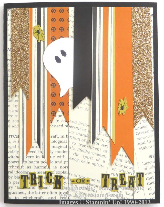 Use your scraps of card stock and designer paper to make some banners on a card. I made the ghost peeking out from the Stampin' Up! Owl Punch. Just cut off his feet and turn him upside down.....you have a ghost!