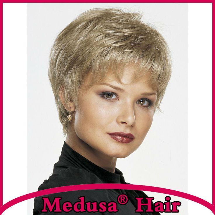 Medusa cheveux produits: Chic pixie cut styles Synthétique pastel perruques droite Courte perruque blonde avec une frange Peruca loira SW0055