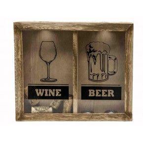 Leuk vaderdagcadeau! Kastje hout wijn en bier incl. kurken en bierdoppen € 13,25