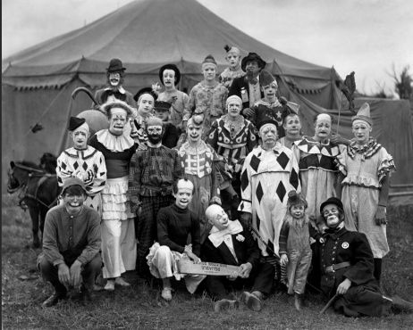 21 Clowns, 1905.  At the Ringling Brothers Circus.  Photo by Frederick Glasier.