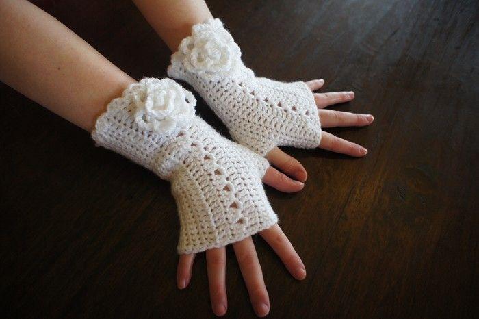 Guantes sin dedos, mitones, guantes sin dedos en Crochet Patrón de encaje blanco | relojes y regalos de N-cantadas | madeit.com.au