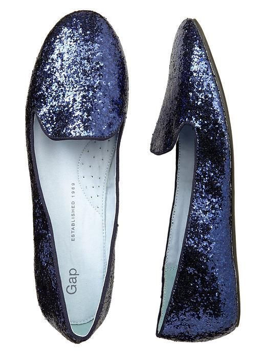 Sparkly blue shoes - navy blue loafers are the best! Wear them with jeans or a dress. Day or ...