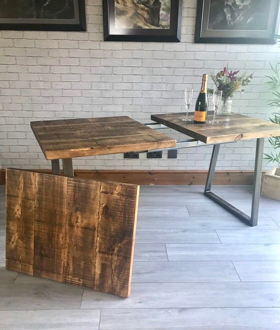 Extending Industrial Dining Table And Bench Trapezium Legs Etsy In 2020 Dining Table Industrial Dining Table Dinner Tables Furniture