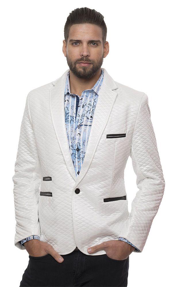 Mens fashion blazer jacket quilted white with black trim black elbow #Barabas #Slimfit