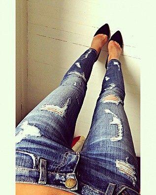 distressed jeans, classic black pumps