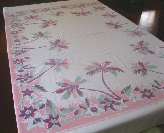 Vintage tropical tablecloth with palm trees and orange blossoms - pink burgundy and jadeite mint green