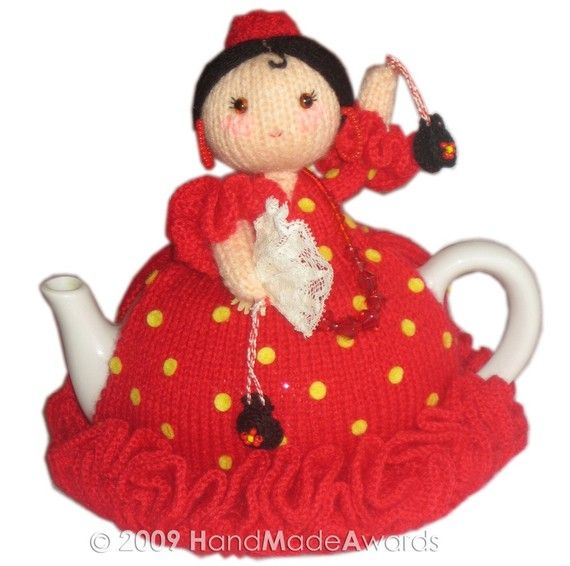 Ole Ole Spanish Ballerina Tea Cosy knitting pattern Pdf $4.50 on Etsy at http://www.etsy.com/listing/52155623/ole-ole-spanish-ballerina-tea-cosy-pdf