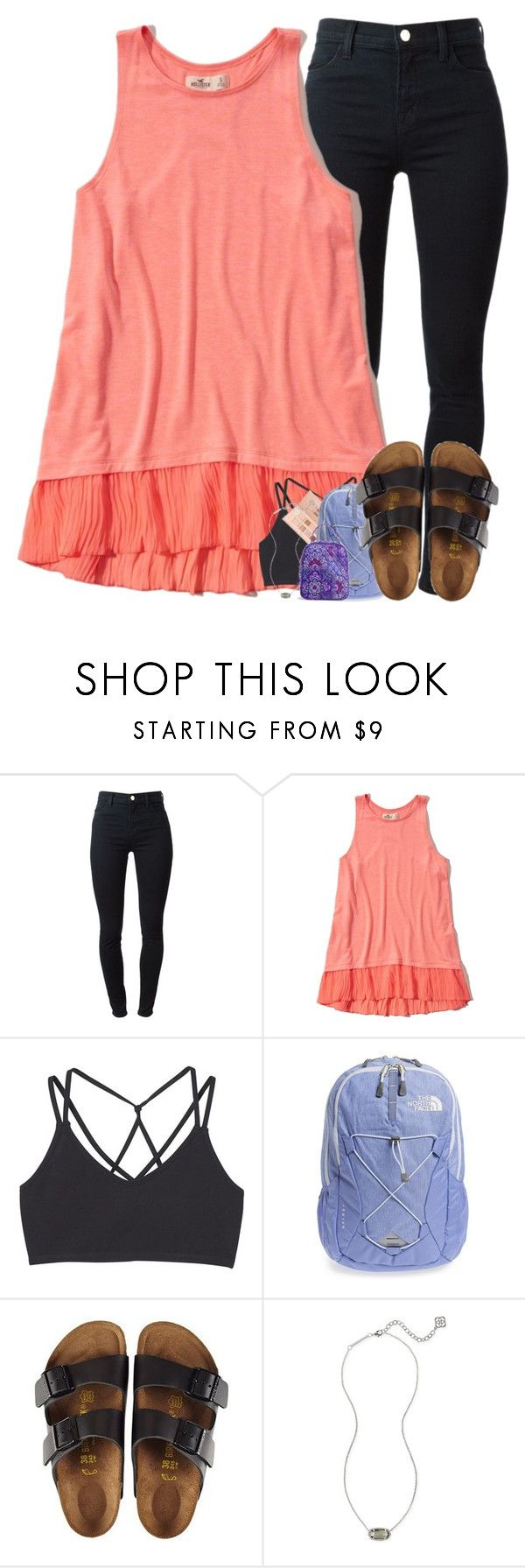 """school."" by elizabethannee ❤ liked on Polyvore featuring J Brand, Hollister Co., MANGO, LORAC, The North Face, Birkenstock, Kendra Scott and Vera Bradley"